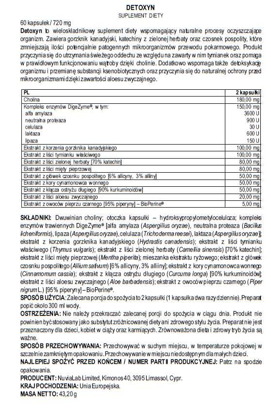 etykieta suplementu diety Detoxyn